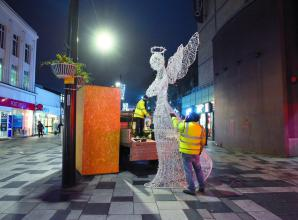 Illuminated angels installed in Slough High Street to honour Wexham Park Hospital staff