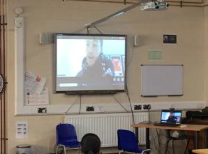 Bournemouth player Jack Stacey talks to pupils at Trevelyan Middle School