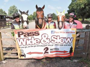 Campaign urges drivers to 'pass wide and slow' of horses